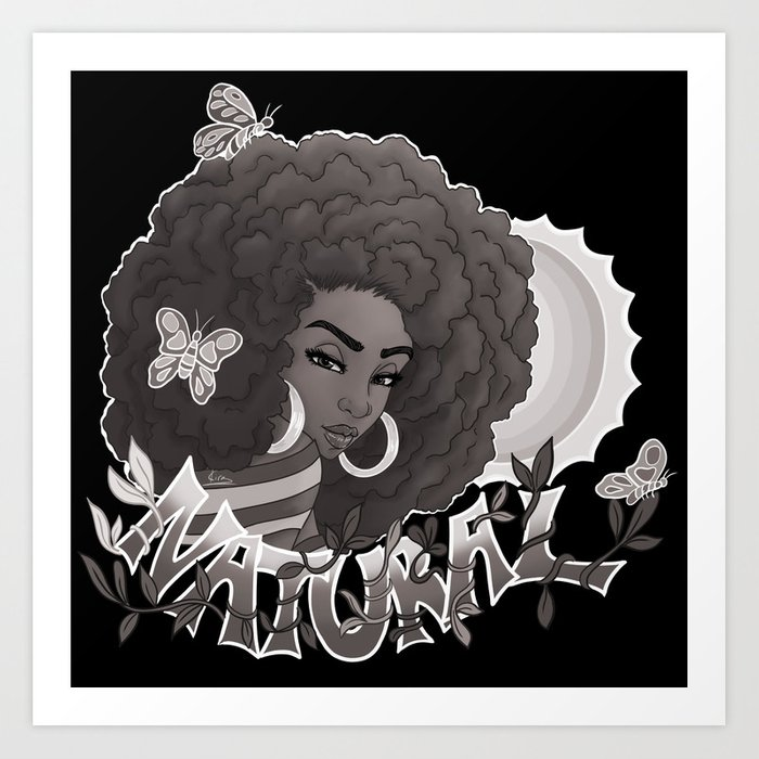 Natural Black and White Art Print by Kira The Artist