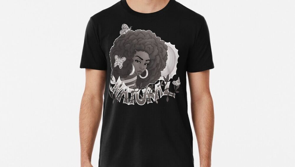 Black and White Natural Premium T-Shirt Designed by Shakira Rivers